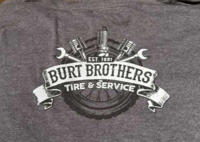 Burt Brothers Tire & Service custom graphic tees - silk screen printing