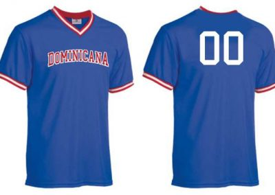 Dominicana baseball team jerseys (front and back) with player numbers