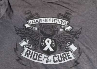 Farmington Festival Ride for the Cure graphic tees screen printing