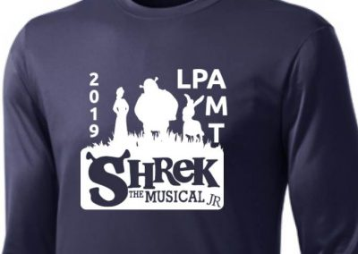 Legacy Prep Academy Musical Theatre Shrek Jr. custom printed shirts (close up)