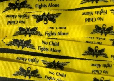 Team Griffin No One Fights Alone fundraiser lanyards (close up)