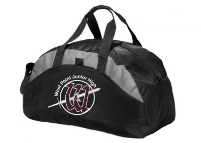 West Point Jr. High logo branded duffel bags
