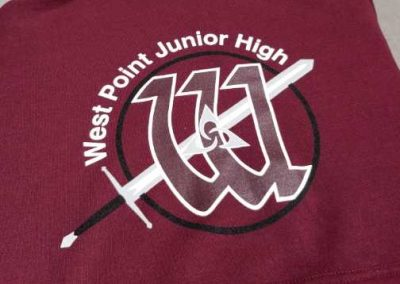 West Point Junior High logo spirit wear hoodies (maroon) screen printed
