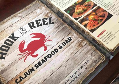 Hook & Reel menu redesign and printing