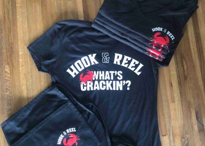 Hook&Reel branded tshirts and aprons