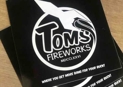 Toms Fireworks marketing stickers